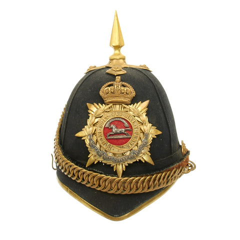 Original British King's Crown Officer's Blue Cloth Spiked Helmet - West Yorkshire Regiment