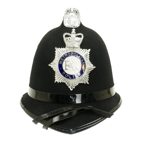 Original British Queen Elizabeth Comb Top Bobby Helmet from the Metropolitan Police (London) c.1990