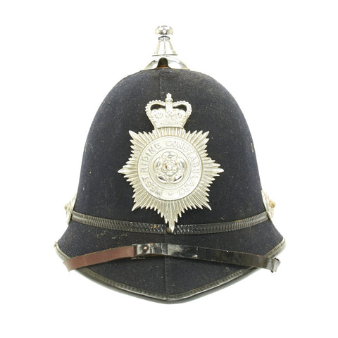 Original British Bobby Police Helmet with Rare Ball Top from West Riding Constabulary
