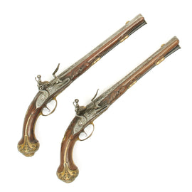 Original Dutch Matched Pair of Flintlock by Hendrick - Circa 1710
