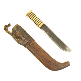 Original Sami Antler Handle Hunting Knife with Leather and Wood Scabbard from Finland