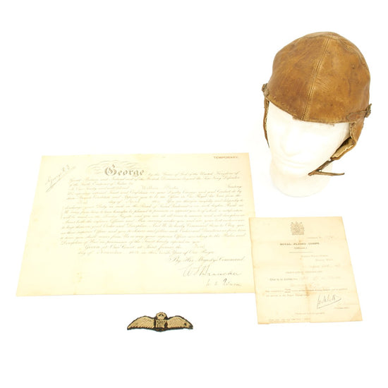 Original British WWI Royal Air Force Comission of 2nd Lt. Wallace Park with Flight Helmet and Wings