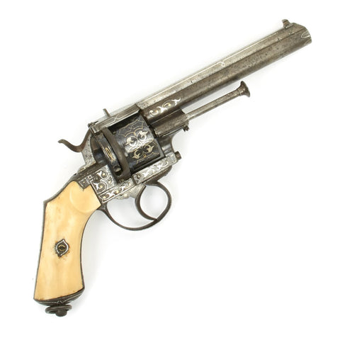 Original French High-Quality Silver and Gold Inlaid BREVETE Pin Fire Revolver by Lefaucheux of Paris - circa 1860