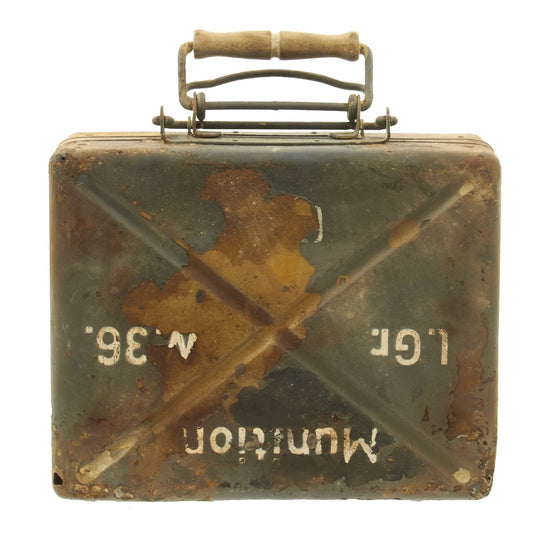Original German WWII 5cm Mortar Round Leichter Granatwerfer 36 Transportation Box Case