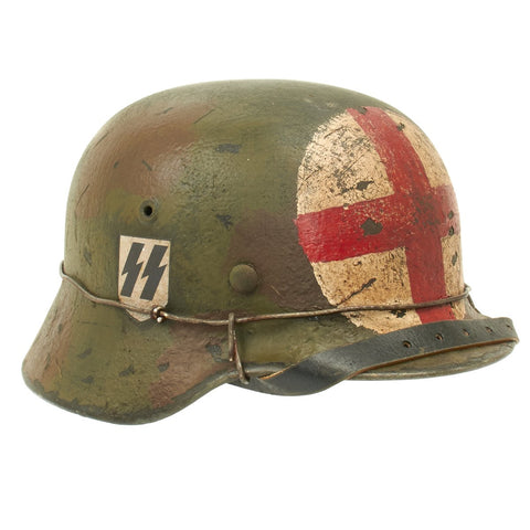 Original German WWII M40 Refurbished SS Normandy Medic Sanitat Helmet - Stamped EF66