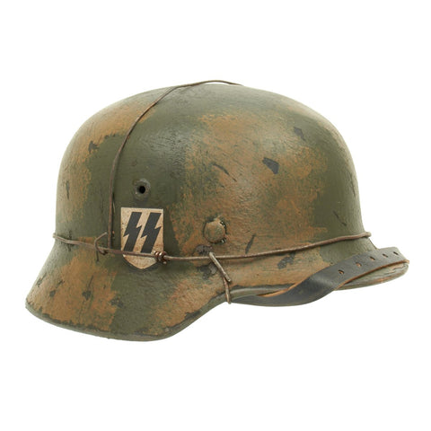 Original German WWII M40 Refurbished WWII SS Double Decal Fall Camo 2 Wire Helmet - Stamped Q66