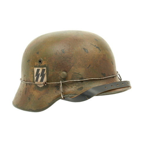 Original German WWII M40 Refurbished Double Decal Normandy SS Helmet - Stamped EF66