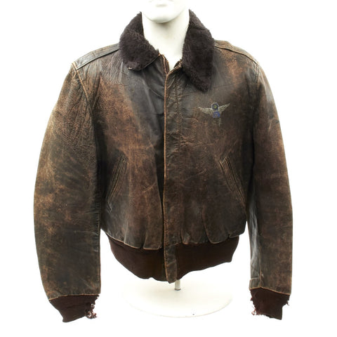 Original WWII Chinese Nationalist Air Force 12th Squadron Leather Flight Jacket Original Items