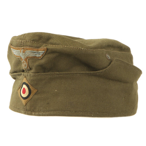 Original German WWII Unissued DAK Afrikakorps EM-NCO M38 Overseas Cap with RBNr. - Size 55 Original Items