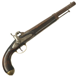 "Original Massive Italian Percussion Pistol with Belt Hook & .71"" Rifled Barrel marked TA - dated 1863"