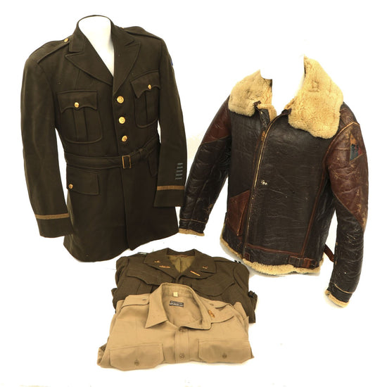 Original U.S. WWII 760th Tank Battalion Officer B-3 Sheepskin Jacket, Ike Jacket and Class A Service Coat Original Items