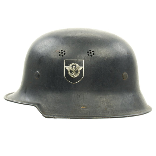 Original German WWII M34 Square Dip NSDAP Double Decal Civic Police Helmet