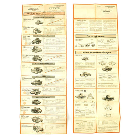 Original German WWII Tank and Armored Vehicle Identification Charts - Soviet, American, British Original Items