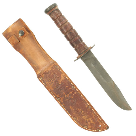 Original U.S. WWII USMC KA-BAR Style Fighting Knife by PAL with Personalized Leather Scabbard