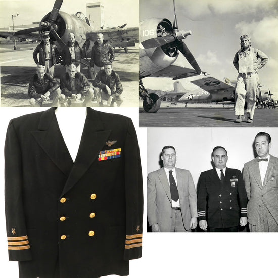 Original U.S. WWII Navy Fighter Squadron VF-72 Highly Decorated Named Service Coat with Original Documents Original Items