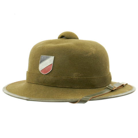 Original German WWII Second Model DAK Afrikakorps Sun Helmet by Mayser with Badges - Dated 1942