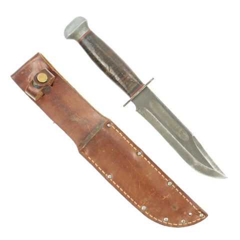 Original U.S. WWII RH Pal 36 MkII-Style Fighting Knife with Leather Scabbard