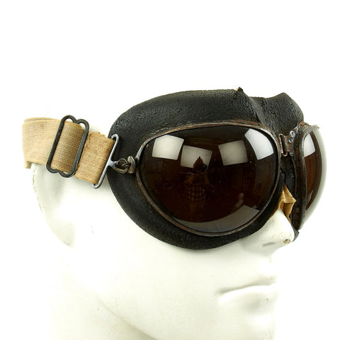 Original German Luftwaffe Flight Goggles with Large Tinted Lenses Original Items