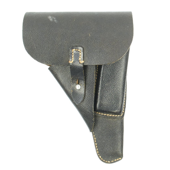 Original German WWII SS-Marked Walther P38 Black Pebble Grain Softshell Holster - Dated 1941