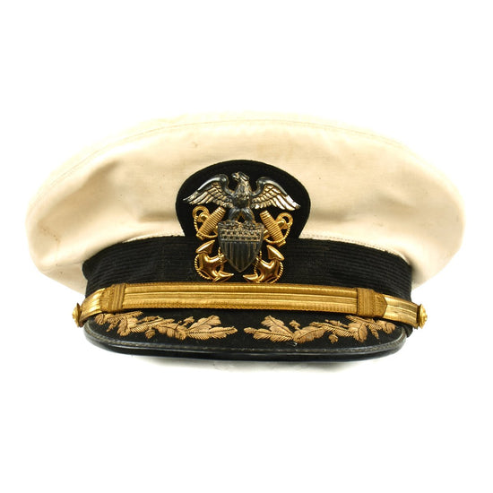 Original U.S. WWII Navy Commander White Peaked Visor Cap by Bancroft - Size 7