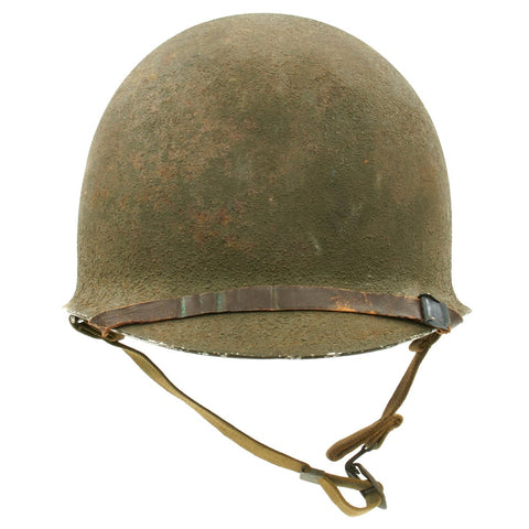 Original WWII 1941 M1 McCord Front Seam Fixed Bale Helmet with Westinghouse Liner Original Items