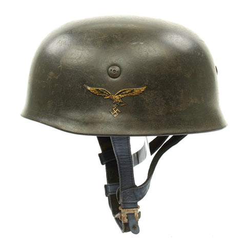 Original German WWII M38 Single Decal Luftwaffe Paratrooper Helmet - Restored