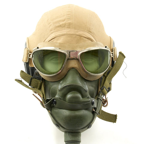 Original U.S. WWII Army Air Force Aviator Flight Helmet Set - AN6530 Green Goggles, A-14 Mask, AN-H-15 Helmet