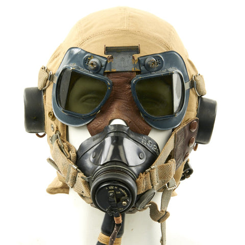 Original British WWII RAF Type D Flying Helmet with Mk VII Goggles and Oxygen Mask Original Items
