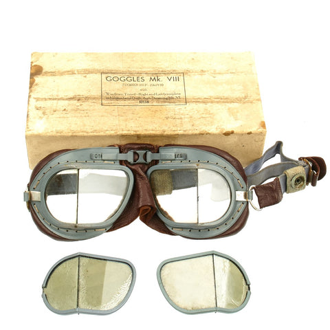 Original British WWII RAF Mk VIII Flying Goggles Unissued in Original Box with Spare Lenses by Fish Optical