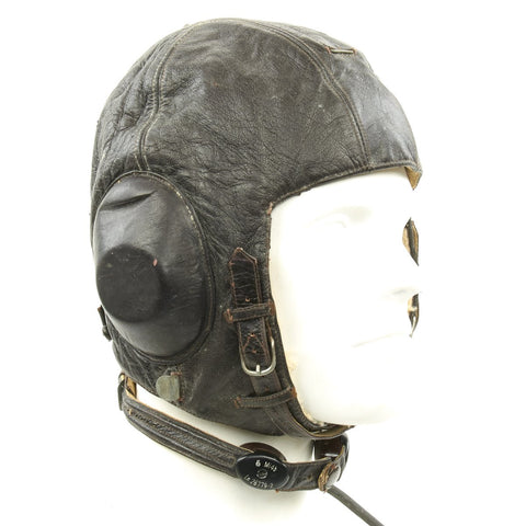 Original German WWII Luftwaffe Model LKPW101 Leather Flying Helmet with Receiver and Microphone