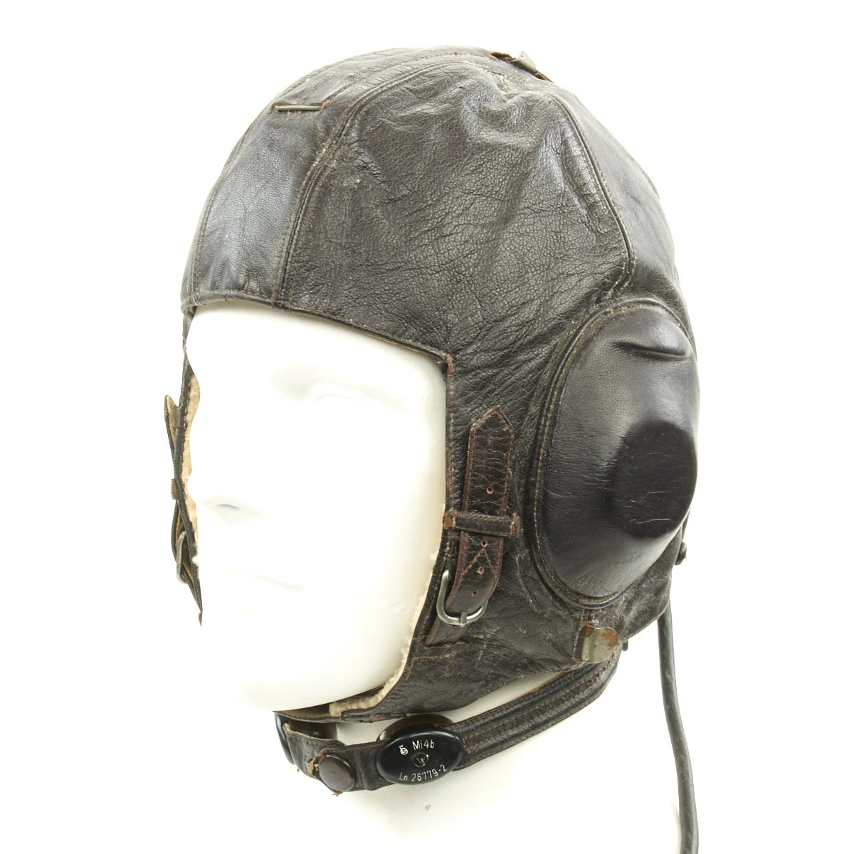 a43bad89e5e Original German WWII Luftwaffe Model LKPW101 Leather Flying Helmet with  Receiver and Microphone