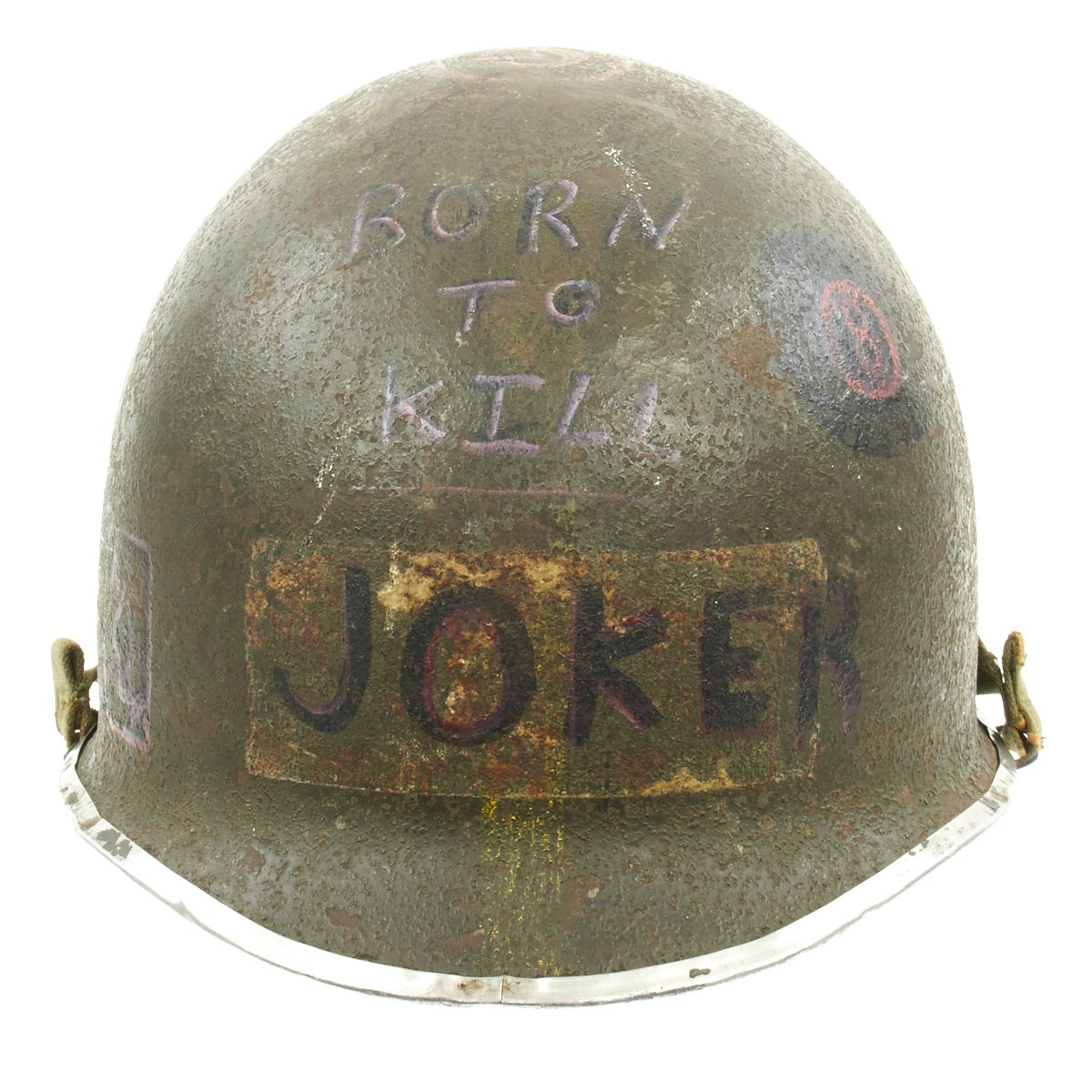 Original U S Wwii Vietnam War Born To Kill M1 Helmet With Westinghouse Liner International Military Antiques