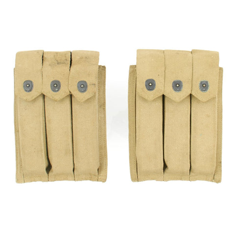 Original U.S. WWII USMC 1944 Dated Thompson .45 Submachine Gun Magazine Pouch Set of 2 by Russell Mfg. Co. Original Items