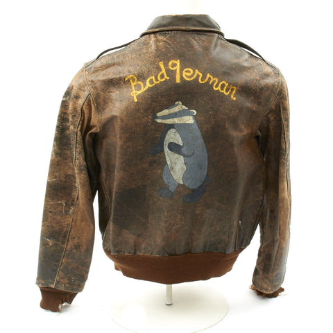 Original U.S. WWII P-47 Thunderbolt Pilot 511th Fighter Squadron Named Hand Painted A-2 Flight Jacket Original Items
