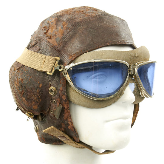 Original British WWII 2nd Pattern Royal Navy Fleet Air Arm Fighter Pilot Type C Leather Flying Helmet With Gosport Tubes and Blue Tint Goggles
