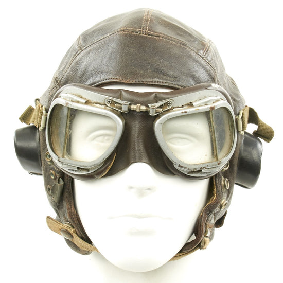 Original British WWII Named RAF Type C Leather Flying Helmet with Mk VIII Goggles