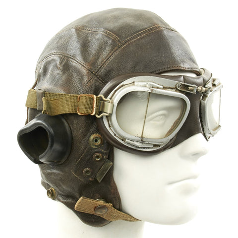 Original British WWII Named RAF Type C Leather Flying Helmet with Mk VIII Goggles Original Items