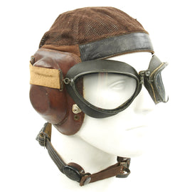 Original German WWII Luftwaffe LKpN101 Netzkopfhaube Summer Flying Helmet with Flight Goggles by Philip Winter