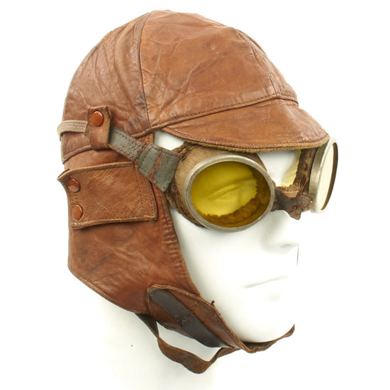 Original U.S. WWI Aero Squadron Leather Flying Helmet with Goggles
