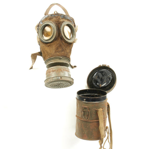 Original Imperial German WWI Gas Mask with Can - Dated June 1918