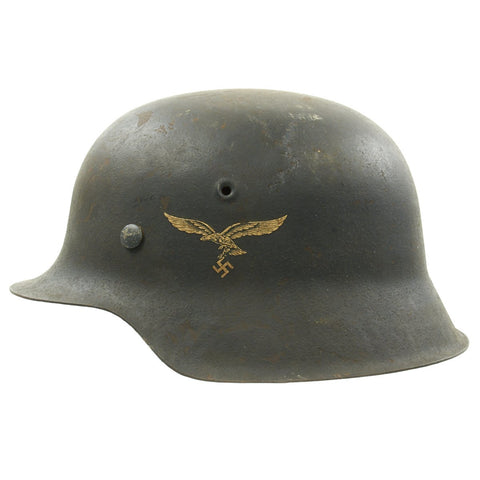 Original German WWII M42 Single Decal Luftwaffe Helmet with Very Good Paint - ET64