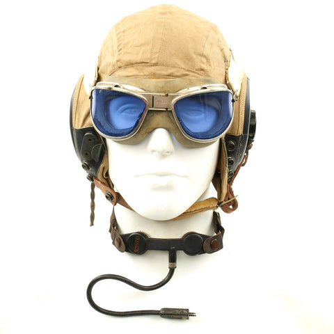 Original U.S. WWII Army Air Force Aviator Flight Helmet Set - AN6530 Blue Goggles, AN-H-15 Helmet, T-3O-V Throat Mic and ANB H-1 Receivers Original Items