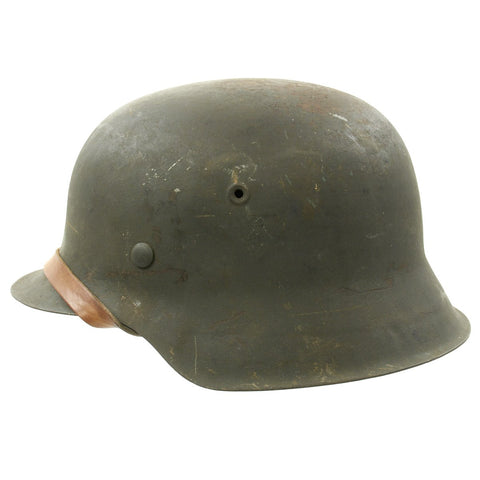 Original German WWII M42 Wehrmacht No Decal Helmet with Size 56 Liner and Chinstrap - ckl64 Original Items