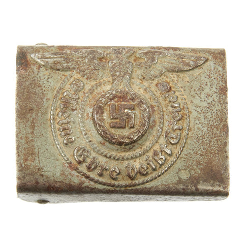 Original German WWII Steel SS EM/NCO Belt Buckle by Assmann & Söhne - RZM 155/43 Original Items