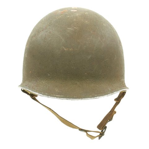 Original U.S. WWII 1941 Personalized M1 McCord Fixed Bale Front Seam Helmet with Hawley Liner