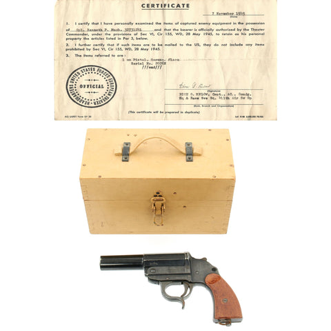 Original German WWII Leuchtpistole 34 Signal Flare Pistol by ERMA with Bring Back Certificate and Box Original Items
