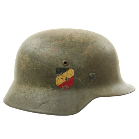 Original German WWII Luftwaffe M35 Double Decal Droop Tail Eagle Steel Helmet - marked ET66 Original Items