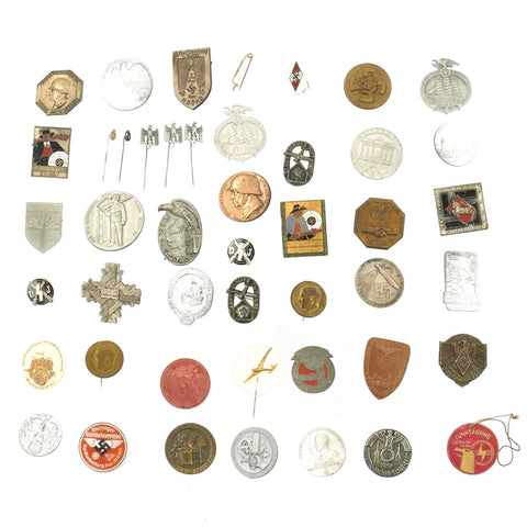 Original German WWII Tinnie Pin and Badge Collection - Set of 44 Original Items