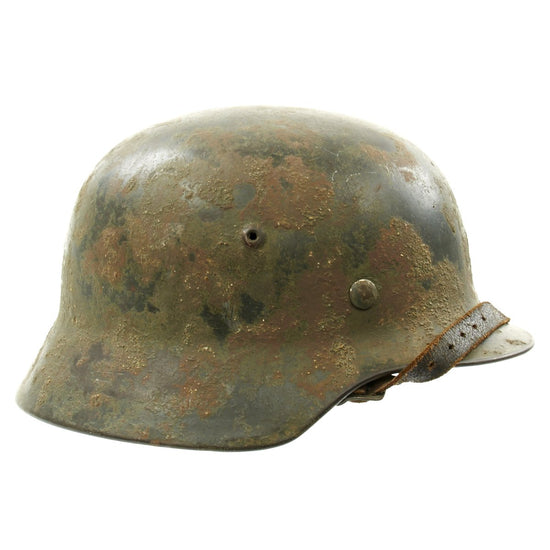Original German WWII Overspray Textured Camouflage M35 Single Decal Army Helmet - ET62