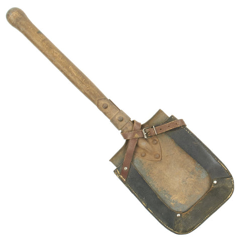 Original German WWII Entrenching Shovel with Leather Cover Carrier Original Items